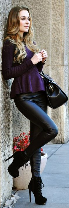 Leather pants and peplum... Love the combination