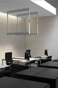 Black and white office design, Kreon Cadre lighing system _