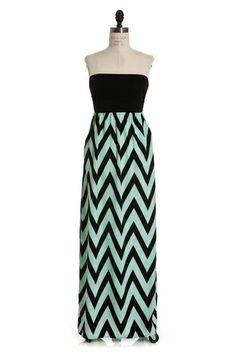 Black & Mint Strapless Pocket Maxi  $44 www.ShopSimplyMeBoutique.com  www.facebook.com/ShopSimplyMeBoutique  #maxi #chevron #boutique #dress #shopSMB #ShopSimplyMeBoutique