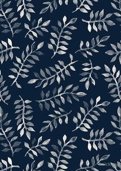 """White Leaves on Navy - a hand painted pattern"" Photographic Prints by micklyn Redbubble Motifs Textiles, Textile Patterns, Print Patterns, Zentangle Patterns, Illustration Inspiration, Pattern Illustration, L Wallpaper, Pattern Wallpaper, Hand Painted Wallpaper"