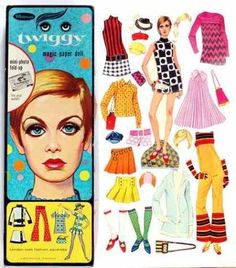 Twiggy paper dolls | Found on puppenhausmuseum.de