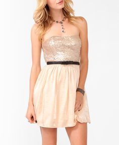 Sequined Party Dress w/ Belt #musthave