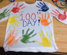 100 day of school shirt.. 20 hand prints on front and back