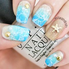 Tropical Nail Art Sunsets, Sea Turtles And Sandy Beaches (PHOTOS) found on Polyvore