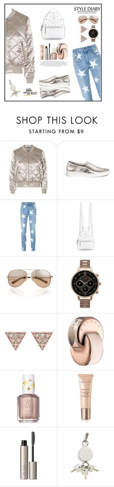 """! Discover Prague !"" by teryblueberry ❤ liked on Polyvore featuring Topshop, Michael Kors, STELLA McCARTNEY, MCM, Valentino, Olivia Burton, ADORNIA, Bulgari, Essie and Laura Mercier"
