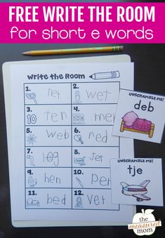 This write the room activity is perfect for kindergarten! Print the recording sheet for kids to put their clipboards. Then put the cards around the room. You can choose from 3 levels of difficulty for easy differentiation! #writetheroom #CVCwords #kindergarten