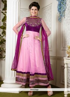 Nifty Pink Net Patch Work Anarkali Suit