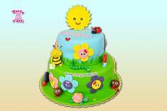 Kvietkovaná torta so slniečkom | Torty pre deti Žilina - detské, marcipánové, 3D, a iné torty na objednávku