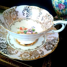 Royal Stafford Pink Gold Chintz Teacup & Saucer Flower Wide Mouth Tea Cup Set