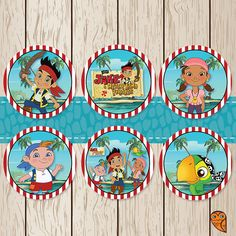 Printable Disney Jake and the Neverland Pirates Cupcake Toppers / Stickers. Free Customization! by BrightOwlCreatives, $4.00