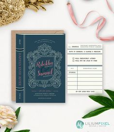 Library Wedding Invitation Printable / Story Book Wedding Suite / Book Themed Wedding / Vintage Rustic Printable Wedding Invitation Download by liliumpixel on Etsy https://www.etsy.com/ca/listing/488267531/library-wedding-invitation-printable