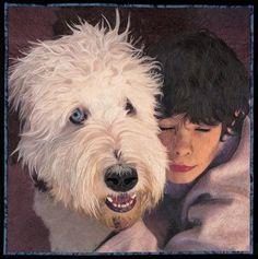 Boy and His Best Friend by Jennifer Day.  Art quilt, SAQA