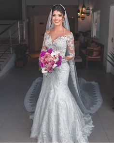 Long Sleeves All Over Lace Mermaid Bridal Dress - Mermaid Wedding Dresses Lace Mermaid Wedding Dress, Sexy Wedding Dresses, Wedding Dress Sleeves, Mermaid Dresses, Bridal Dresses, Bridesmaid Dresses, Dresses With Sleeves, Size 12 Wedding Dress, Bridal Dress Shops