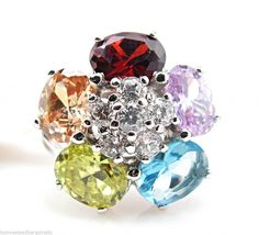 Multi Color & White Cubic Zirconia CZ .925 Sterling Silver Flower Ring 6 NWT #MulticolorGemstoneRing
