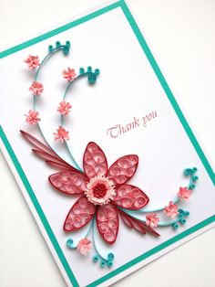 Paper Quilling Thank You Card. Quilled Handmade Paper by Joscinta, £6.00