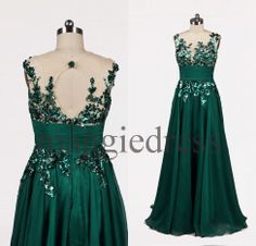 Custom Teal Applique Backless Long Prom Dresses Evening Gowns See Through Party Dress Homecoming Dresses Formal Wear Cocktail Dresess on Etsy, $128.00