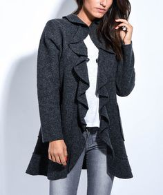 Loving this Gray Ruffle-Front Wool Jacket on #zulily! #zulilyfinds