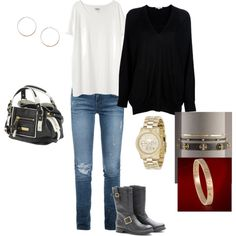 Casual outfit for fall/winter; with my black boots, black sweater, black/cognac bag, gold watch and hoops