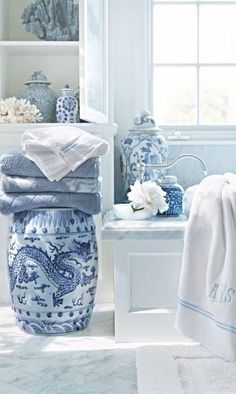 Blue and white porcelain accent pieces in bathroom with garden stool, and monogrammed linens Decor, Blue Decor, Interior, Blue Rooms, Asian Decor, White Decor, White Rooms, Blue White Decor, Blue And White