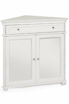 143 00 Hampton Bay W Corner Cabinet With Two Wood Doors White