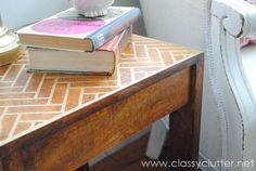 herringbone stenciled side table.... I wouldn't use gold, but I like the herringbone pattern