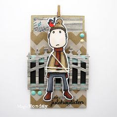anma.no - Blog - 12 Days of Xmas - Mini Paperbag card by Dt Silje. Stamp from MagicMonday.no