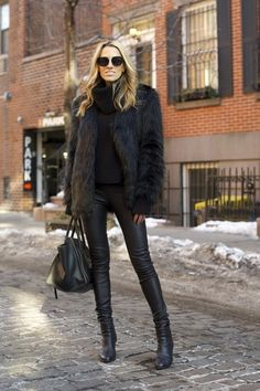 mind body swag blogger all black everything leather pants faux fur jacket sweater pants coat shoes sunglasses bag