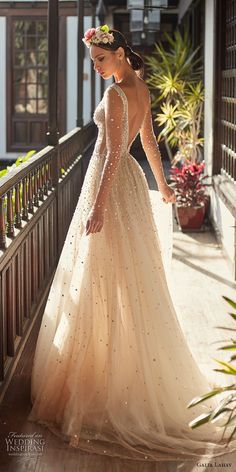 galia lahav couture fall 2018 bridal sheer long sleeves deep plunging v neck full beaded embellishment creame color romantic soft a  line wedding dress open v back chapel train (2) bv -- Galia Lahav Couture Fall 2018 Wedding Dresses #weddings #bridal #wedding