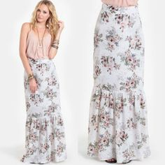 White Holy Floral Maxi Skirt By For Love & Lemons