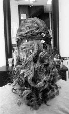 Pretty half up half down hairstyle for prom