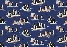Penguins | Our characterful Penguins and their icy Arctic landscape were originally designed to give our nightwear a snuggly, seasonal look in AW13. For AW15 we created a sophisticated colourway for fashion. | Cath Kidston Library Collection AW15 |