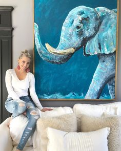Shop paintings, prints, wallpaper and home decor designed by the International artist, Mary-Catheryn. Fall Canvas Painting, Diy Canvas Art, Elephant Canvas Painting, Elephant Paintings, Africa Painting, Art Watercolor, Acrylic Painting Techniques, Elephant Art, Contemporary Paintings