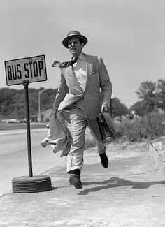1950s Salesman Running To Catch Bus Photograph by Vintage Images
