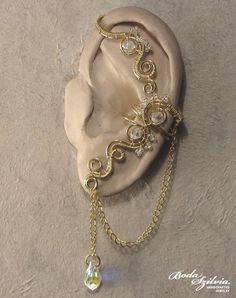 SUNSHINE EAR WRAP - wire wrapped ear wrap, no piercing ear cuff, adjustable ear cuff, brass ear wrap, elegant ear cuff, crystal ear cuff