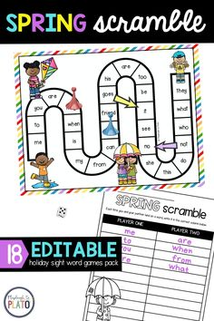 Need to get your Pre-K or Kindergarten students practicing sight words? We've created an editable sight word game that is so much fun plus easily has your early learners practice any sight word list you want. We also designed them to honor all holidays throughout the year! Making your lesson planning so much easier! Here, we feature our sight word game Spring scramble. A perfect spring learning activity for your students! Sight Words List, Sight Word Games, Sight Word Activities, Cvc Words, Reading Activities, Literacy Activities, Literacy Centers, Kindergarten Literacy, Preschool