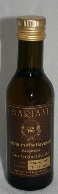 Bariani White Truffle Olive Oil Available at www. California Olive Oil, White Truffle, Truffles, Gourmet Recipes, Whiskey Bottle, Jelly, Spices, Gifts, Food