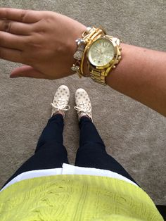 Chartreuse cable knit sweater, Kate Spade gold polka dot keds, and a gold arm stack