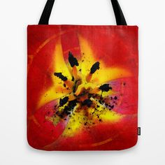 #Red and #Yellow #Flower Tote #Bag