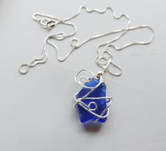 Blue Sea Glass Necklace Sterling Silver Blue Seaglass Wirewrapped Alaskan Sea Glass Jewelry Blue Seaglass Lucky Sea Glass Jewelry by LuckySeaGlassJewelry on Etsy