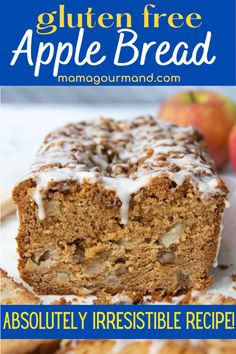 Tantalizing Gluten-Free Apple Bread recipe has juicy apple chunks and salty chopped nuts held together in a fluffy loaf cake topped with cinnamon streusel and gooey vanilla glaze.