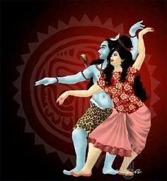 Lord Shiva and Parvati dancing