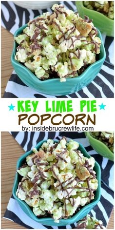 Key Lime Pie Popcorn - This tropical twist to chocolate covered popcorn is a fun treat to enjoy any night. Snack Mix Recipes, Lime Recipes, Popcorn Recipes, Good Healthy Recipes, Sweet Recipes, Popcorn Snacks, Snack Mixes, Pop Popcorn, Candy Recipes