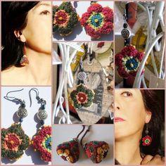 Boucles doreille crochet flowers