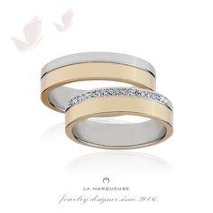 Obrączki wykonane z białego i żółtego złota. Damska obrączka została ozdobiona brylantami:) Kolekcja: obrączki z brylantami La Marqueuse ..: #obraczki #bizuteria #brylanty #slub #jewerly #weddingrings  #diamonds #LaMarqueuse :..