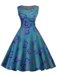 Vintage Dresses, Cheap Vintage Clothing and Retro Dresses for Women Casual Online Pin Up Dresses, Day Dresses, Dresses For Sale, Summer Dresses, Ladies Dresses, Blue Dresses, Robe Swing, Swing Dress, Vintage Outfits