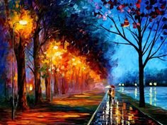 "Alley By The Lake 2 — Romantic Oil Painting On Canvas By Leonid Afremov.   Size: 40""X 30"" Inches (100 cm x 75 cm)"