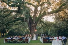 Ceremony at Wedding Oak Tree + Vintage Church Pews | Vintage Gold Southern Wedding at the Legare Waring House by Charleston Wedding Planner ELM Events