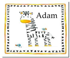 Childrenu0027s Personalised Table Mats, Personalised Place Mats, Toddler Mat,  Kids Placemat, Zebra
