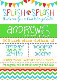 Pool Party Chevron Birthday Invitation-Splish Splash Party-Summer Party-Beach Party-Digital Invitation via Etsy