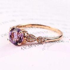 Solid 14k Rose Gold Natural Diamonds Genuine Amethyst  Women Engagement Ring